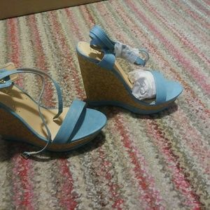 Liliana Shoes - Blue Wedge Sandals